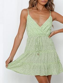 V Neck Printed Mini Slip Summer Dresses