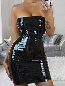 Glossy Sexy Ladies Strapless Mini Dress