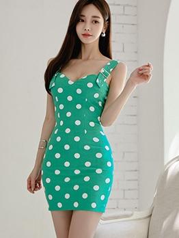 Seductive v Neck Polka Dots Bodycon Dress