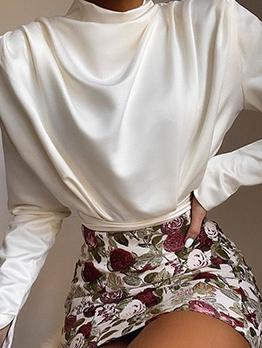 Plain White Back Split Mock Neck Ladies Blouse