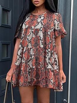 Stitching Color Snake Print Ruffled Hem Short Dresses