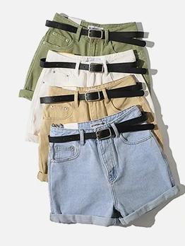 Turndown Edge Solid Color Denim Shorts With Belt