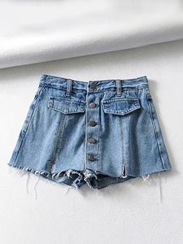 Hot Sale Single Breasted Women Denim Shorts