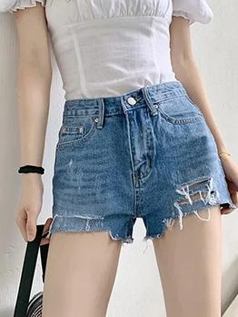 Plain Blue High Waist Hole Denim Hot Shorts
