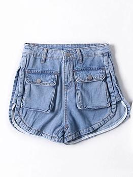 Front Pocket Blue Summer Denim Hot Shorts