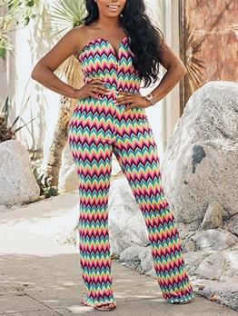 Fashion V Neck Printed Strapless Jumpsuit
