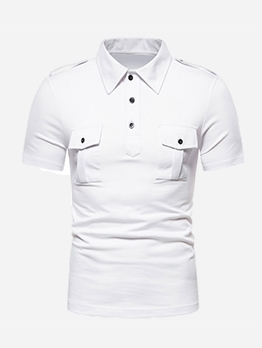 Turndown Collar Pockets Short Sleeve T-Shirts For Men