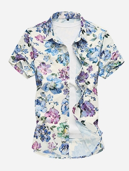 Summer Floral Short Sleeve Shirts For Men