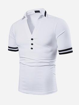 Contrast Color Short Sleeve V Neck T-Shirts