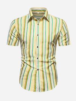 Summer Turndown Collar Striped Shirts For Men