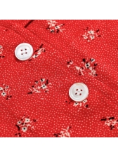 Single-Breasted Puff Sleeve Red Floral Dress
