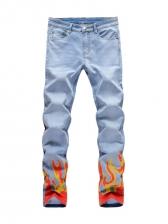 Chic Flame Print Straight Leg Mens Jeans