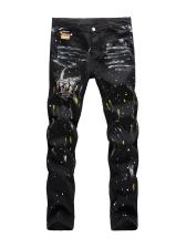 Hip-Hop Paint Skull Print Straight Mens Jeans