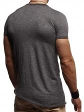 Solid Crew Neck Short Sleeve Basic T Shirt