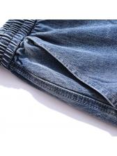 Elastic Waist Denim Short Pants For Men