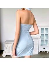 Plain Blue Halter Neck Backless Bodycon Dress