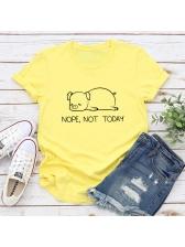 Cute Pig Print Crew Neck Cotton Tee Shirts