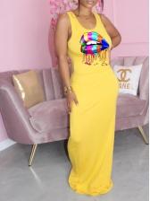 Colorful Lips Print Sleeveless Maxi Dress
