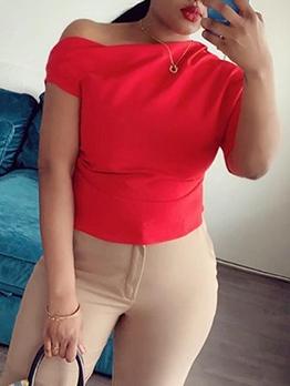 Irregular Pure Color Short Sleeve t Shirt Design
