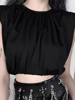 O Neck Plain Black Cropped Tank Top For Women