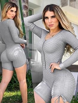 Side Lace-Up Gray Long Sleeve Sport Romper