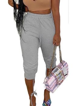 Plus Size Drawstring Gray Sporty Pants For Women