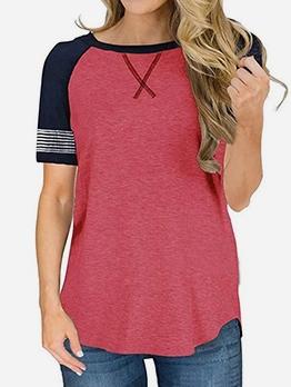 Leisure Color Block Short Sleeve Tee Shirts
