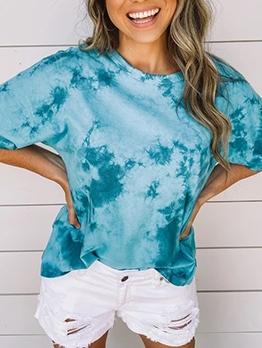 Loose Gradient Color Short Sleeve t Shirt Design