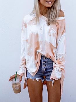 Loose Gradient Color Long Sleeve t Shirt Design