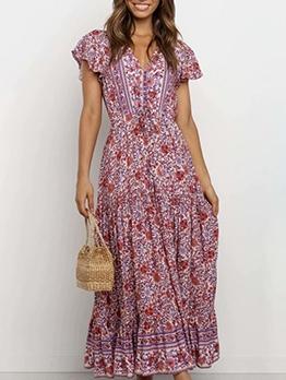 Retro Printing v Neck Maxi Dress With Sleeves