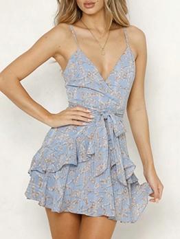 Sexy v Neck Ruffled Slip Summer Dresses