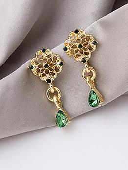 Water Droplets Green Rhinestone Vintage Earrings Design