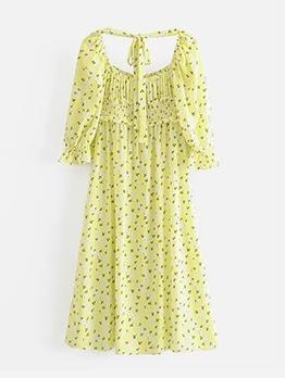Summer Printed Side Slit Midi Dress
