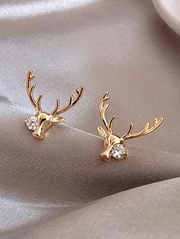 Cute Deer Shape Single Rhinestone Small Stud Earrings