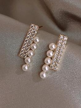 Shiny Rhinestone Small Faux Pearls Stud Earrings