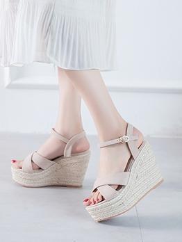 Solid Suede Summer Wedge Sandals