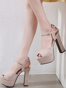 Peep-Toe Suede Chunky Heel Sandals Shoes