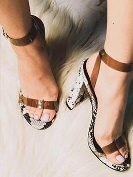 Snake Skin Printed PVC Heel Sandal