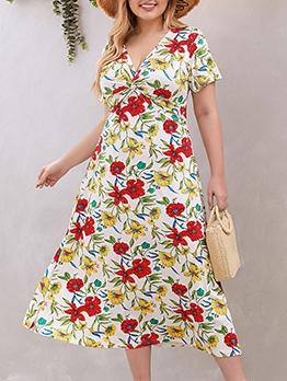 New Design Flower Printed Plus Size Maxi Dresses