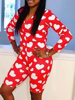 Heart Pattern Long Sleeve Rompers For Women