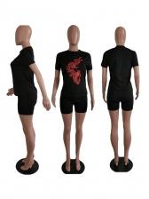 Simple Style Dragon Print Shorts Set For Women
