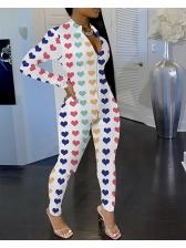 Butterfly Printed Long Sleeve Skinny Jumpsuit