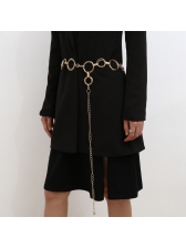Round Rings Linked Pure Color Body Belt For Women