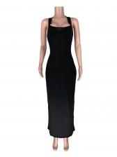 U Neck Sleeveless Solid Backless Bodycon Maxi Dresses