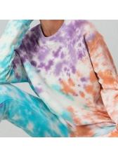 Contrast Color Tie Dye Loungewear Two Piece Sets