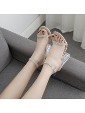 Chic Clear Heels Rhinestone Comfortable Sandals