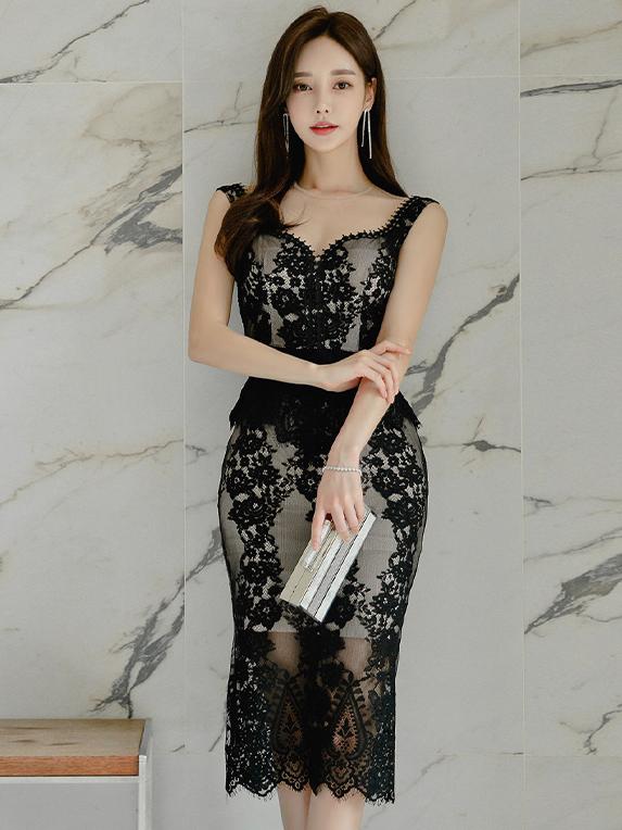Seductive Sleeveless Lace Camisole Casual Dresses