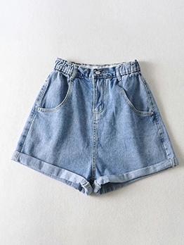Turnup Edge Elastic Waist Plain Denim Shorts