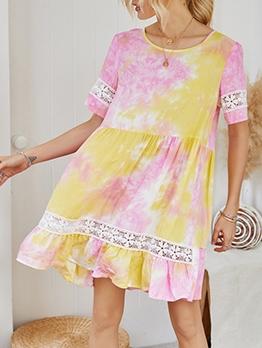 Tie Dye Crew Neck Short Sleeve Dress