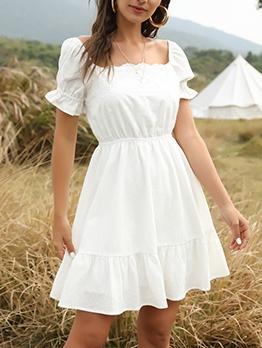 Slim Fit Square Neck White Casual Dresses